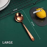 スプーン カラフルなスープスプーン304ステンレス鋼のディナースプーンでロングハンドルデザートスプーンのためにキッチン食器コーヒースクープ (Color : Large A)
