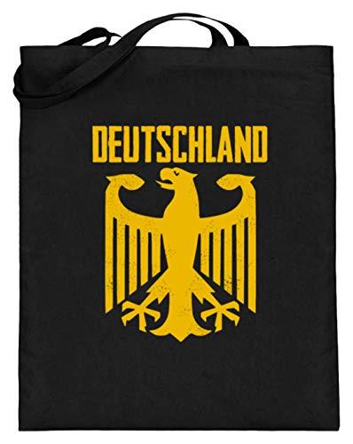 SPIRITSHIRTSHOP Cooles Bundesadler Adler Deustchland - Bundeswehr Stolz Flagge Grundgesetz Bundestag Staat - Jutebeutel (mit langen Henkeln) -38cm-42cm-Schwarz
