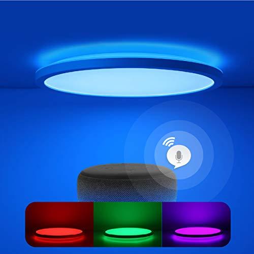 Smart Led Deckenleuchte Flach Dimmbar mit Fernbedienung, Farbwechsel Deckenlampe Kompatibel mit Alexa Google Home, 24W IP44 2.5cm Rund Ultra Dünn, für Schlafzimmer/ Badezimmer/ Kinderzimmer/ Flur