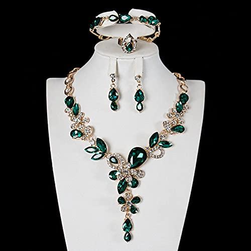 YZYZ Juego de piedras preciosas de cristal para mujer con luz de lujo, clavícula, collar, pendientes, pulsera, anillo, vestido de cuatro piezas
