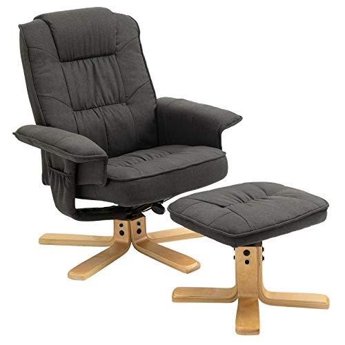 IDIMEX Fauteuil de Relaxation Charly avec Repose-Pieds Pouf, siège pivotant et Dossier inclinable, Assise rembourrée Confortable et Relax, revêtement en Tissu Gris Anthracite