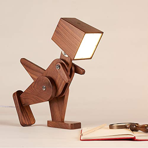 HROOME Unique Dinosaur Table Lamp Wood Adjustable Body Cute Bedside Desk Lamp with Dimmable Touch...