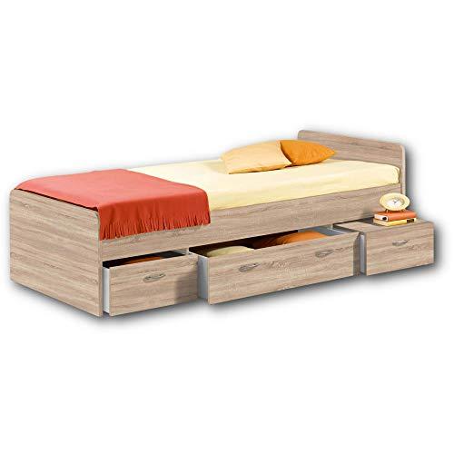 BORO Modernes Einzelbett mit 3x Schubkästen 90 x 200 cm - Praktisches Jugendzimmer Kojenbett in Eiche Sonoma Optik - 95 x 66 x 204 cm (B/H/T)