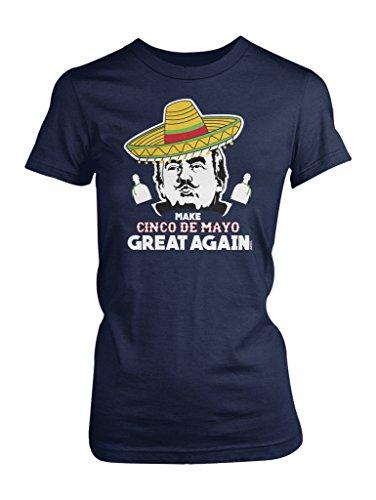 LOGOPOP Women's Donald Trump Make Cinco De Mayo Great Again T-Shirt, XL, Navy