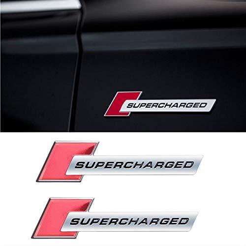 XCBW 3D Metall Auto Aufkleber Emblem Sport Auto Supercharged Heckkoffer Brief Abzeichen Aufkleber für Land Rover Range Rover,Silver red