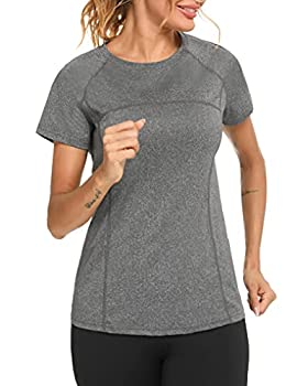 Sykooria Tee Shirt Sport Femme Séchage Rapide T-Shirt de Sport Doux Haut Sport Femme Running Respirant Tops Sport Femme pour Pilate Yoga Fiteness Running