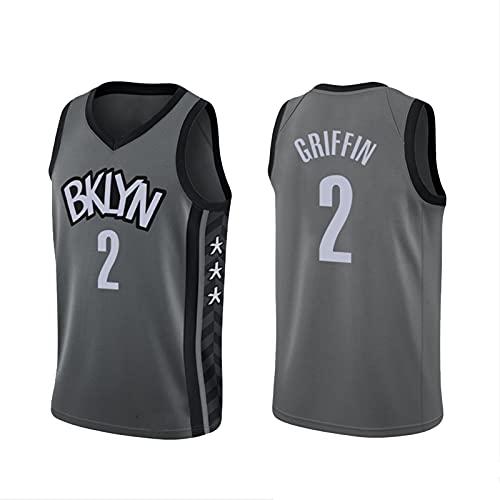 EJKDF Gŕiffiǹ # 2 Jersey, Nétś Jersey, City Basketball Shirt Men's Street Femenino Al Aire Libre Moda Transpirable Malla Deportiva Ropa Deportiva Grey-XXXXL