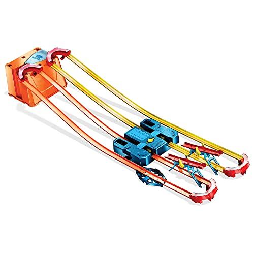 Hot Wheels GNJ01 - Hot Wheels Track Builder Unlimited Power Boost Box, mit 6 Metern Trackset und Zubehör inkl. 2 Autos, Geschenkidee für Kinder ab 6 Jahren