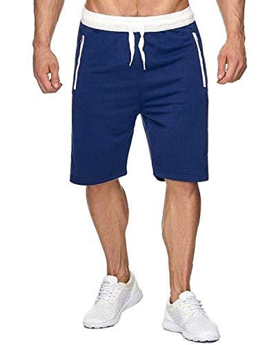 Voncheer Mens Elastic Waist Drawstring Summer Workout Shorts with Zipper Pockets (L, Blue Shorts with Back Pocket)