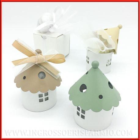 Lot de 24 mini lanternes en forme de maison avec base ronde blanche et toit à cône coloré assortis en vert taupe crème – Bonbonnière de mariage, marque-places (kit de 24 pièces + boîte)