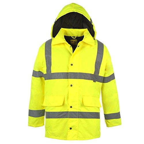 DUNLOP Herren Hi Viz Parka Jacke Mit Kapuze Arbeitsjacke Arbeitskleidung Gelb Extra LGE