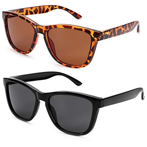 Braylenz 2 Pack Polarized Sports Sunglasses for Men and Women, 100% UV Protection Driving Sun Glasses (Leopard/Brown Lens + Black)
