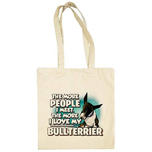Diver Bebé Bolsa de tela I love my Bullterrier Atigrado raza perro - Beige, 38 x 42 cm