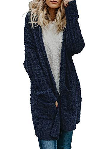 Sidefeel Women Long Sleeve Open Front Soft Outwear Cardigan X-Large Navy