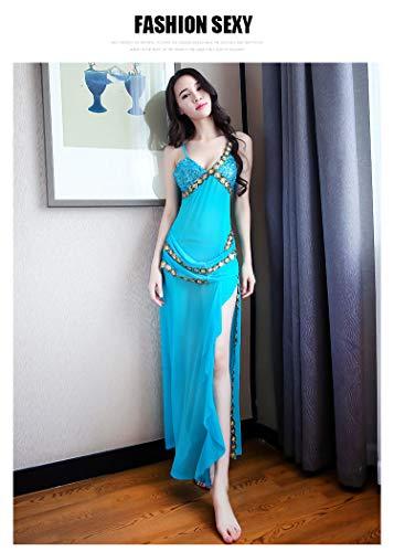 ダンス衣装 ベリーダンス ガウン ロングドレス セクシードレス キャバ キャバ服 ナイトウェア (青)