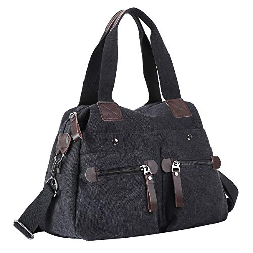 Eshow Women Tote Handbag Bag Canvas Shoulder Bag for Ladies 13 inch Laptop Shopping Bag Shopper Crossbody Multipurpose Hobo Bags Black