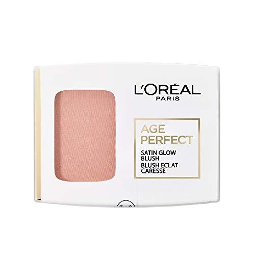 L\'Oréal Paris Age Perfect Satin seidiges Puder-Rouge in Nr. 107 kupfer/hazelnut, für eine natürliche Frische im Gesicht, 5 g