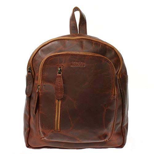 LECONI kleiner Rucksack vintage Stadtrucksack Rindsleder Damenrucksack backpack Cityrucksack natur für Damen + Herren Lederrucksack aus echtem Leder 27x30x11cm braun LE1011-wax
