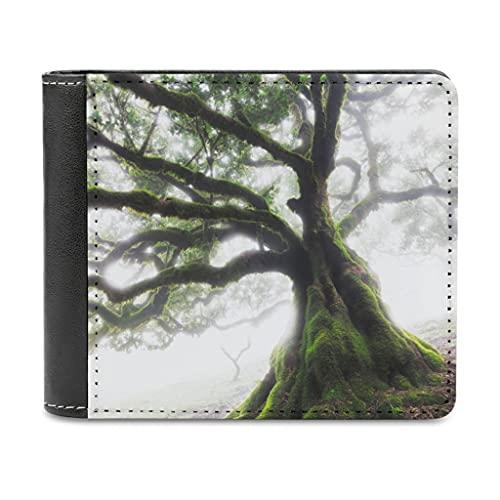 Magiböes Cartera de piel sintética para hombre, diseño de árbol de la jungla, luz solar, regalo para hombres, marido, padre o hijo., Blanco, Einheitsgröße