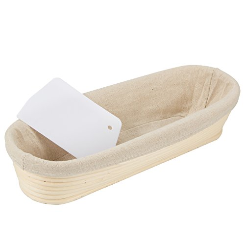 """ANPHSIN 13"""" Oval Banneton Bread Proofing Basket Round Brotform Dough Rising with Liner"""