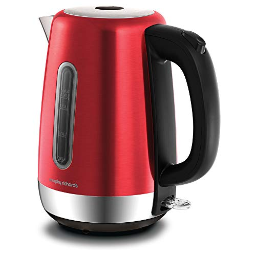 Morphy Richards 102785 Red Equip Stainless Steel Jug Kettle, 3000 W, 1.7 Litre, Red