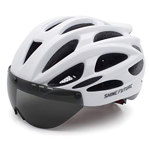 Fahrradhelm Herren Damen Kletterhelm Erwachsene Fahrrad Zyklus Helm Magnetischer Visier-Schutzbrille mit LED-Rücklicht Verstellbar Radhelm(57-61cm)