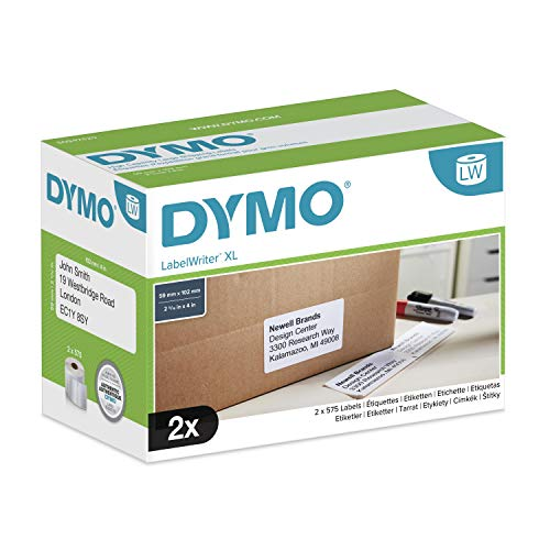 DYMO High Capacity Large Shipping Labels 102mm x 59mm Negro, Color blanco 1150pieza(s) - Etiqueta autoadhesiva (Negro, Blanco, Papel, Bélgica, 102 mm, 59 mm, 1150 pieza(s))
