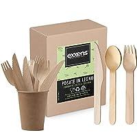 exxens set posate in legno monouso biodegradabili forchetta coltello e cucchiaio kit 200 pezzi
