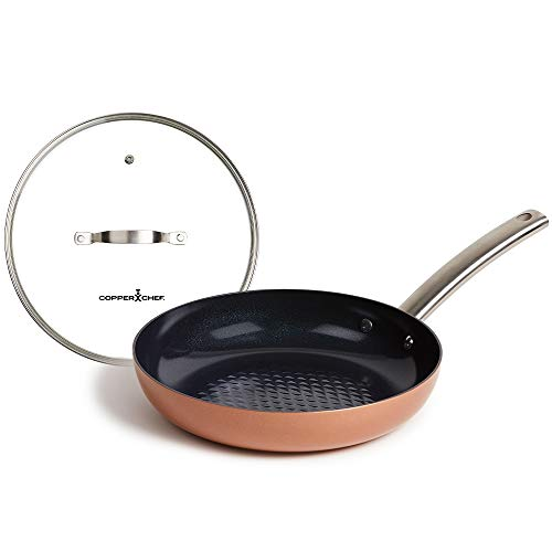Copper Chef Black Diamond Fry Pan with Lid, Induction Bottom, 10-Inch, Black and Copper