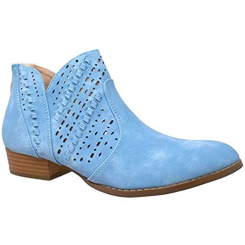 SOBEYO Damen Stiefeletten Western Blockabsatz Bootie Perforiert Cutout Schuhe, Blau (blau), 37 EU