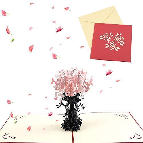 Sethexy 3D Acción de gracias Tarjetas de felicitación Invitación de boda Surgir Cerezo día de San Valentín Confesión Aniversario Regalo de cumpleaños para novia Novio Esposa Marido Amigos Familia