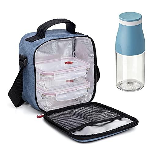 PracticFood Kit Urban Food Casual - Bolsa Térmica Porta Alimentos con Tapers Herméticos (Drink Glass Denim)