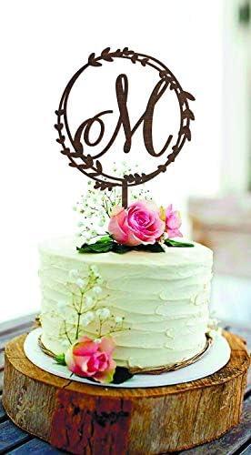 Delia32Agnes Rustic Wedding Cake Topper M Initial Cake Topper Letter M Cake Topper Monogram product image