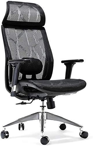 Ergonomischer Bürostuhl Atmungsaktiver High-Back-Mesh-Schreibtischstuhl mit Verstellbarer Lendenwirbelstütze 3D Armlehnen Neigungsfunktion und 360 ° rotierende Räder