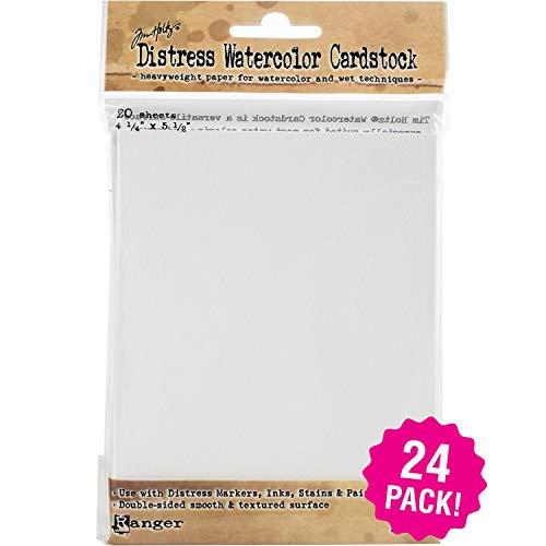 Tim Holtz Distress Watercolor Cardstock 24/Pkg, 4.25'X5.5' 24 Pack