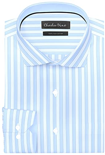 Charles Dino 100% Giza 2 ply Cotton Mens Striped Shirt for Formal/Causal wear