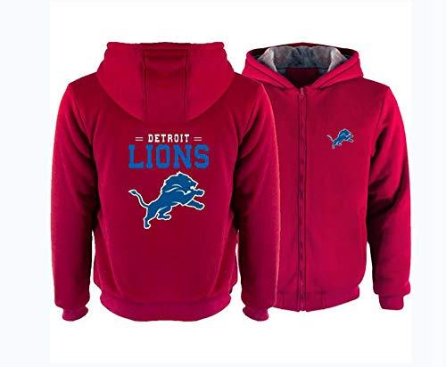 FEZBD - Sudadera con capucha para hombre, diseño de fútbol americano, estilo casual, invierno, con cremallera, color rojo, XL
