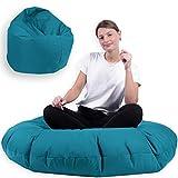 Sitzsack 2 in 1 mit Füllung Indoor Outdoor Sitzkissen 3 Größen Yoga Kissen BeanBag (125cm Durchmesser, Türkis)