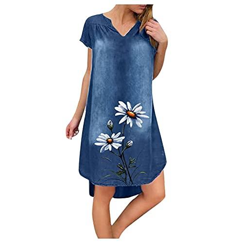 Vestido de verano para mujer, cuello en V, vestido de playa, monocolor, línea A, estampado de diente de león, largo hasta la rodilla, sin accesorios, #7_azul, XXL