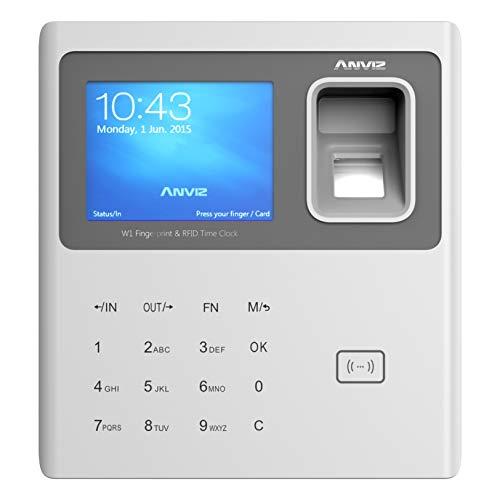 Anviz - Detección de asistencia con lector biométrico, RFID y código PIN, gris