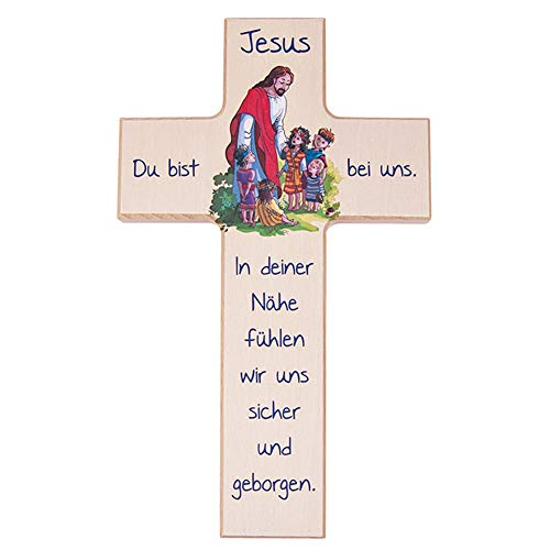 FRITZ COX® - Kinder- Holzkreuz: 'Jesus Freund der Kinder' 20 cm - ein tolles Kommunion-Geschenk um Gott nah zu sein und beten zu lernen