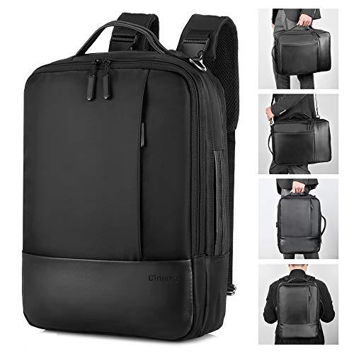 """Gimars Upgrade Design 3 in 1 Zaino Messenger Bag per Computer Portatile da 15.6""""Borsa a Tracolla Uomo con Presa USB Antifurto Multifunzionale per università Scuola Business Viaggio Aereo Nero"""