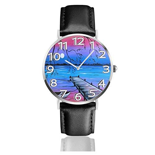 LREFON Armbanduhr River Bank Boot Aquarell Kunst Langlebige PU-Lederband Quarz Business-Uhren Unisex Casual Armbanduhr