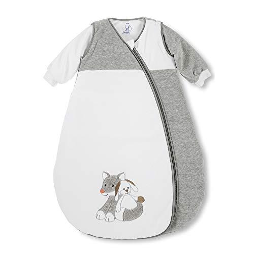 Sterntaler Schlafsack für Kleinkinder, Abnehmbare Ärmel, Wärmeregulierung, Reißverschluss, Größe: 90, Waldis, Weiß/Grau