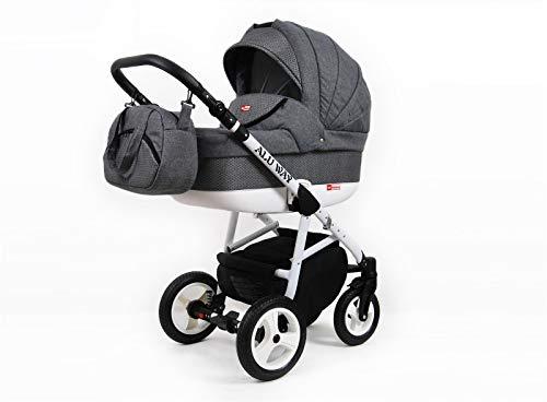 Kinderwagen Set 3in1 Isofix 2in1 Buggy Alu Way by Lux4kids Grey Honeycomb 3in1 mit Babyschale