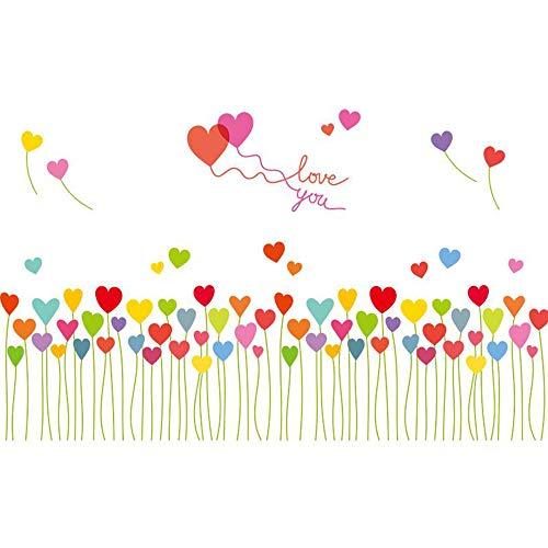 Jcnfa-sticker mural Fleur De Plante Chambre À Coucher Chevet Dortoir Mur Auto-adhésif, Autocollant (Couleur : A, Taille : 95 * 57cm)
