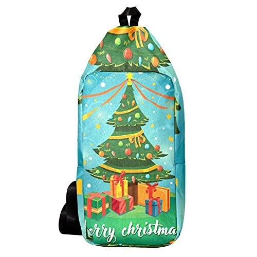 Cangurera Bolso Bandolera Bolso Mensajero Hombre Bolsos de Hombre Bolsos Cruzados Bolso Casual para Trabajo Viaje Feliz árbol de Navidad con Regalos