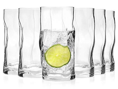 Bormioli Trinkglas Set 'Sorgente' 6 teilig   Füllmenge 420 ml   Stylisches Universalglas für Cocktails, Bier oder Softdrinks