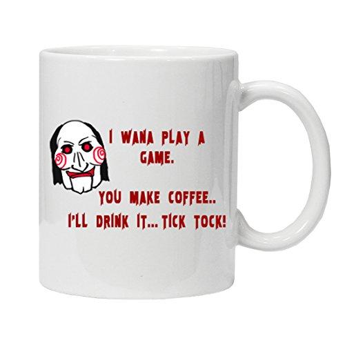 Jigsaw 'I want to play a game' you make me coffee, Ill drink it - - de la novedad de café de cerámica taza de té por estudios, color blanco, 11oz