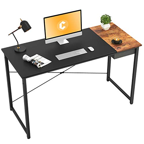 Cubiker Computer Desk 55' Home Office Writing Study Laptop Table, Modern Simple Style Desk with Drawer, Black Rustic